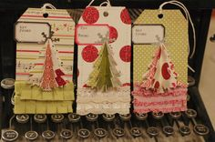 What a cute idea for Christmas gift tags or for use in altered books or scrapbooking.  How to included...