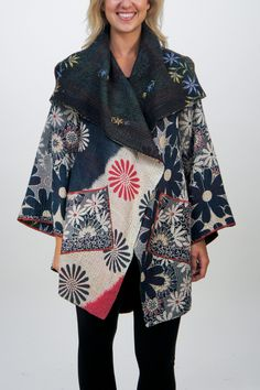 Kantha Long Jacket #21 by Mieko Mintz. This fully reversible, one-of-a-kind jacket is an exquisite statement piece, taking the simplest outfit to ''wow'' in an instant. Sewn in New York from vintage saris that were pieced in India using traditional kantha quilting techniques. Traditionally, kantha were meant to bring happiness and prosperity to their wearers. Mieko Mintz wishes the same for those who wear her kantha creations today. Overview: 5-layer cotton kantha created from vintage saris…