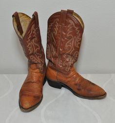 Vintage Dan Post Ostrich Two Tone Cowboy Boots Western Rocker 70's 80's Exotic Distressed Leather Men's Size 8.5 D by FeverfewVintage on Etsy