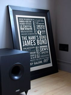 THE NAME'S... A2 James Bond Typographic Print in Midnight Blue.. $45,00, via Etsy.