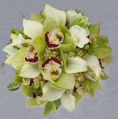 Bouquet, Green, Wedding, Orchid, Cymbidium, Florunique
