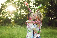 Fun Engagement Session!  paint war www.ashleycainphotography.com