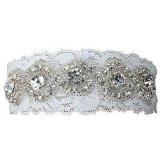 Fashion Plaza Weißes Strumpfband für Hochzeit Abschlussball Zubehörteil mit Strassstein A-G002 (X-Small/ 16 Zoll)