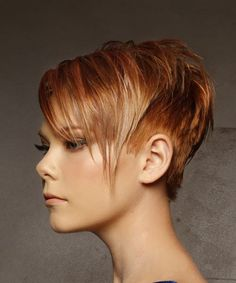 Short Straight Casual Pixie Hairstyle with Side Swept Bangs - Red Hair Color with Light Blonde Highlights - Side View Side Fringe Haircuts, Thin Hair Haircuts, Pixie Hairstyles, Pixie Haircut, Pixie Cut With Highlights, Red Hair With Blonde Highlights, Red Hair Pixie Cut, Blonde Pixie, Edgy Short Hair