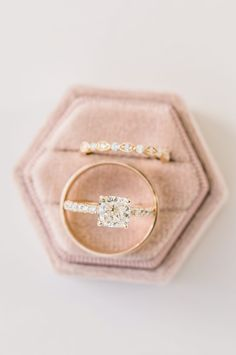 Cushion cut diamond engagement ring in a 4 prong pave yellow gold setting and matching wedding band - all from Diamonds Direct. #weddingset #yellowgold #gold #cushion #cushioncut #diamond #engagementring #weddingband #matching #pave #ido #mrsbox #ringpic