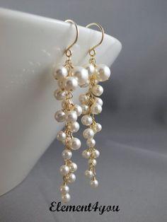 Pearl drop gold earrings bridal earrings wedding earrings pearl cluster earrings long cascading dangle gold filled ivory earrings 26 gorgeous updo wedding hairstyles from tonyastylist page 2 of 2 Pearl Earrings Wedding, Pearl Jewelry, Wire Jewelry, Wedding Jewelry, Gold Jewelry, Beaded Jewelry, Jewellery Box, Hair Wedding, Jewelry Bracelets
