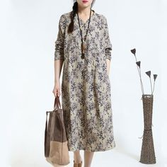 2016 Autumn Retro Print Loose Long Sleeve Gray Dress