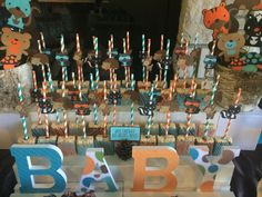 Sweet Simplicity Bakery: Woodland Animals Themed Baby Shower in Aqua, Orange and Brown; Dessert & Chocolate Display Table Buffet