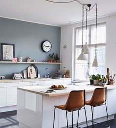 Kitchen Wall Colors With White Cabinets. This best picture selections about Kitchen Wall Colors With White Cabinets is available to save. Grey Kitchen Cabinets, Home Kitchens, Grey Kitchen Walls, Kitchen Remodel Small, Kitchen Design, Blue Kitchen Walls, Kitchen Wall Colors, Modern Kitchen, Kitchen Interior