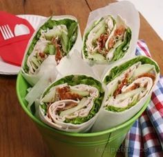 Turkey and Bacon Wraps Recipe from RecipeTips.com! I make a version of these all the time for a low phosphorus lunch.