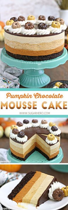 Pumpkin Chocolate Mousse Cake is a stunning 4-layer dessert with chocolate cake, cinnamon mousse, pumpkin-butterscotch mousse, and salted caramel mousse! | From SugarHero.com