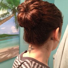 OMG!  Curly hair sock bun!  Where have you been all my life?  I'm a bun girl and tried this today and LOVE IT!