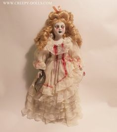 Creepy Horror Tears of blood Mother doll with Old Photo of Child horror prop