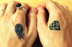 Hand tattoo feather and diamond