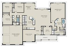 Country Style House Plan – 4 Beds Baths 2563 Sq/Ft Plan Floor Plan -… – How to make House Plans One Story, Ranch House Plans, New House Plans, Dream House Plans, House Floor Plans, Open Floor Plans, Single Level Floor Plans, Simple Floor Plans, 4 Bedroom House Plans