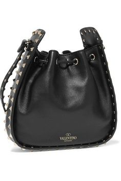 Valentino | The Rockstud Bucket leather shoulder bag | NET-A-PORTER.COM #blackleathershoulderbag