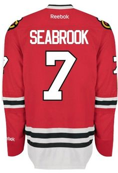 Chicago Blackhawks Mens Brent Seabrook Premier Home Jersey with AUTHENTIC TACKLE-TWILL LETTERING