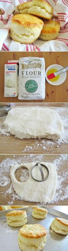 Cream Biscuits (just 2 ingredients!! - plus a little melted butter for the tops) Hands down the most amazing biscuit I have ever eaten!! So fluffy, soft and easy!!   www.thecountrycook.net