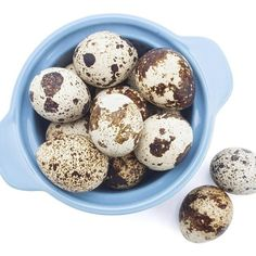 Quail lay small, brown and white speckled eggs with delicate shells.