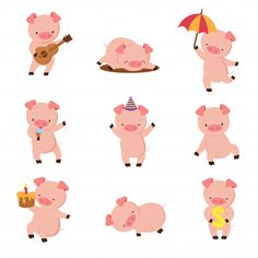 Buy Cartoon Pig by MicrovOne on GraphicRiver. Cute smiling pigs playing in mud. Illustration of pig in mud, fun farm. Cute Animal Drawings, Cartoon Drawings, Cartoon Art, Cute Animals Puppies, Cute Baby Animals, Farm Animals, Cute Animal Videos, Cute Animal Pictures, Cute Baby Cartoon