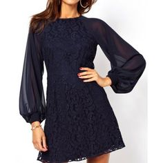 Sexy Round Neck Lantern Sleeve Hollow Out Dress For Women