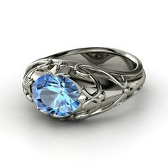 Oval Blue Topaz Palladium Ring - Hearts Crown Ring | Gemvara