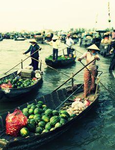 Vietnamese floating market on the Mekong River
