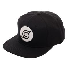 This Naruto Leaf Black Snapback hat is made from acrylic wool. Brought to you by Bioworld. Black Snapback Hats, Anime Merchandise, Anime Costumes, Acrylic Wool, Headgear, Hats For Men, Naruto Shippuden, Primary Colors, Baseball Hats