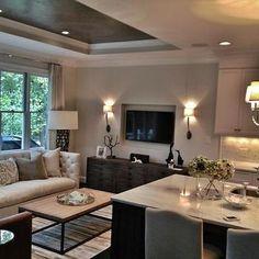 Tray Ceiling, Contemporary, living room, Heather Garrett Design