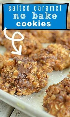 Healthy No Bake Cookies, Easy Cookie Recipes, No Bake Treats, Cookie Desserts, Yummy Cookies, Sweet Recipes, Baking Recipes, No Bake Recipes, Cake Recipes