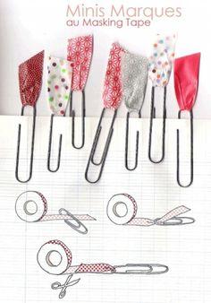 Paperclips versieren met tape/restjes stof