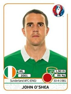 John O 'Shea of Republic of Ireland. Football Cards, Baseball Cards, Sunderland Afc, Uefa Euro 2016, European Championships, Republic Of Ireland, World History, France, America's Cup