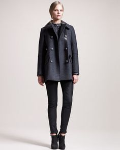 Chatham Leather-Trim Pea Coat, Clare Hand-Knit Cashmere Sweater & Lydford Coated Denim Motorcycle Jeans by Belstaff at Bergdorf Goodman.