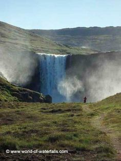 Given the nasty lighting conditions, Julie took this photo of me approaching Gufufoss from the parked car Iceland Waterfalls, Mists, My Dream, Dreaming Of You, Ocean, Island, Lighting, World, Outdoor