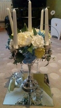 Candelabra with Crystals and Floral Display