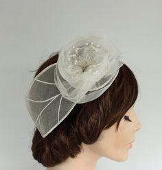 Bridal Headpiece White Organza Weddings Head by MammaMiaBridal