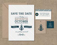 NAUTICAL  SAVE The DATE Card -  Printable - Navy Blue Striped. $18.00, via Etsy.
