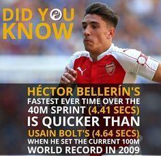 Piłkarz Arsenalu Londyn jest szybszy na 40 metrów od sławnego sprintera • Hector Bellerin jest szybszy nawet od Bolta • Zobacz >> #arsenal #bellerin #football #soccer #sports #pilkanozna