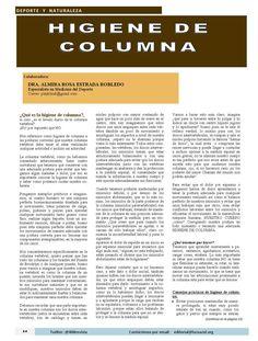 """#DeporteyNaturaleza artículo """"Higiene de Columna"""" por Dra. Almira Estrada, especialista en deporte, #Aguascalientes publicado en número de Marzo de la Revista 400 #DesarrolloSustentable"""