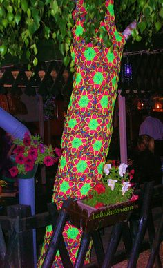 Psychedelic Glow In The Dark Yellow Flowers Crochet Tree by babukatorium, via Flickr