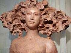 Christine Remy Eyes Looking Down, Human Head, Art Plastique, Sculpture, Statue, Masks, Healing, Clay, Ceramics