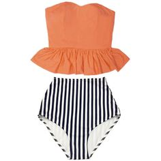Old Rose Orange Long Peplum Top and Navy Blue White Striped Vertical... ($40) ❤ liked on Polyvore featuring swimwear, bikinis, black, women's clothing, vintage bathing suits, high waisted swimsuit, black bikini, vintage high waisted bikini and retro high waisted swimsuit