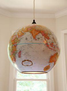 LOVE THIS. Globe Light. Shiner International - World Globe Lights - Repurposed World Globes illuminated from within.