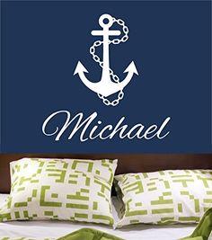 Wall Decal Vinyl Sticker Decals Art Decor Design Sign Custom Name Baby Letter Anchor Symbol Nautical Salior Ocean Living Room Bedroom(r546)