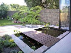 Delightful Koi pond design for a contemporary garden. Backyard Water Feature, Ponds Backyard, Garden Ponds, Large Backyard, Patio Pond, Backyard Waterfalls, Rustic Backyard, Contemporary Landscape, Landscape Design