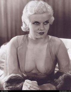 """Jean Harlow. A true """"Vamp"""". In her clinging 30s fashions and no undergarments, she was a sight to behold!"""