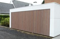 Wooden Wall Cladding, Wood Facade, Garage House, House Front, Garage Door Design, Garage Doors, Garage Extension, Garage Door Makeover, Carports