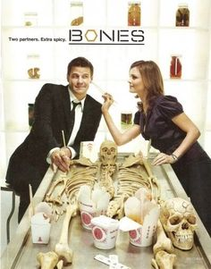 This is so Bones. The Chinese takeout, the bone room, booth and bones playing around.
