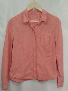 Gap 1969 Chambray Red Women's Button Down Shirt 100% Cotton~Size Medium #GAP #ButtonDownShirt #Casual