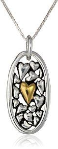 """Two-Tone Sterling Silver and Yellow Gold-Plated Mother and Daughter Heart Pendant Necklace, 18"""" available at joyfulcrown.com"""